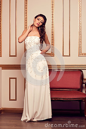 Free Woman In Long White Evening Wedding Dress In Antique Interior. L Stock Images - 51221814