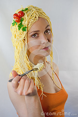 Free Woman In Love With Pasta Royalty Free Stock Photo - 30742255