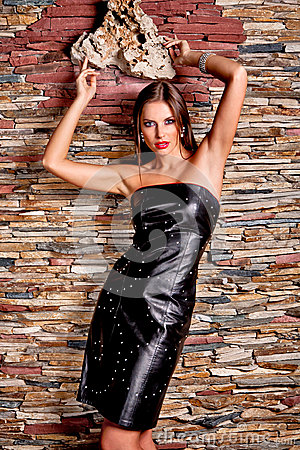 Free Woman In Luxury Leather Black Dress Royalty Free Stock Photography - 43745787