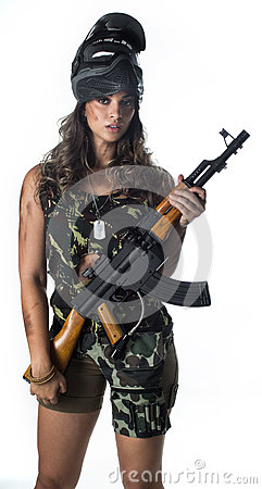Free Woman In Military Stock Image - 68184101