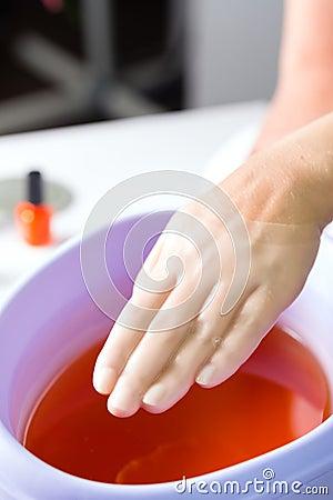 Free Woman In Nail Salon Having Paraffin Bath Royalty Free Stock Photos - 26869108