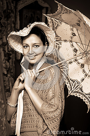 Free Woman In Old Hat With A Lace Umbrella Royalty Free Stock Images - 28672779