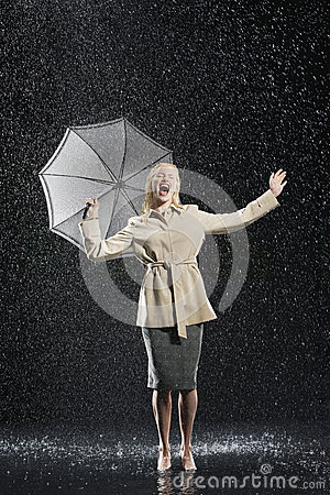 Free Woman In Overcoat With Umbrella Enjoying The Rain Royalty Free Stock Photo - 31840775