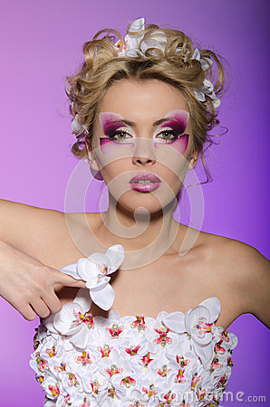 Free Woman In Petals Orchid Stock Photography - 37112392