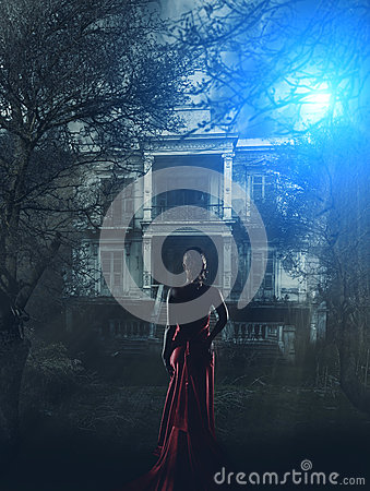 Free Woman In Red Dress At Haunted House Stock Photos - 38358813