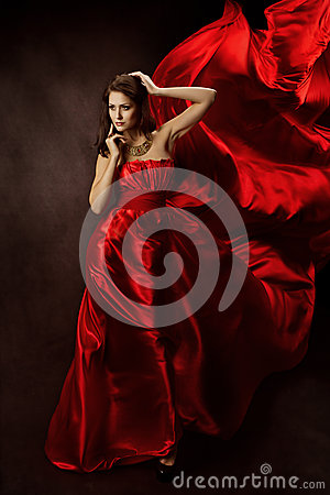 Free Woman In Red Dress With Flying Fabric, Gown Cloth Flowing On Wind Stock Photography - 27772202