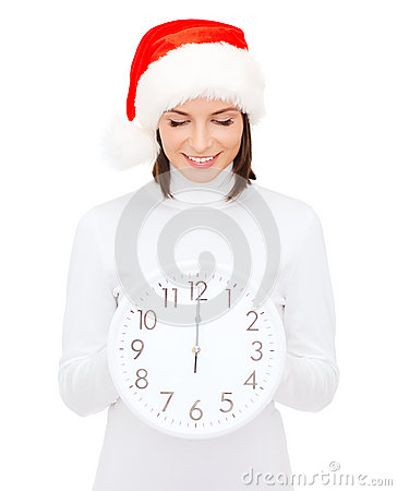 Free Woman In Santa Helper Hat With Clock Showing 12 Royalty Free Stock Photo - 34244995