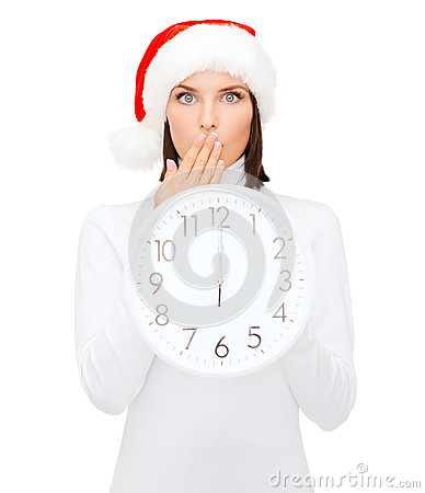 Free Woman In Santa Helper Hat With Clock Showing 12 Royalty Free Stock Photography - 34244997