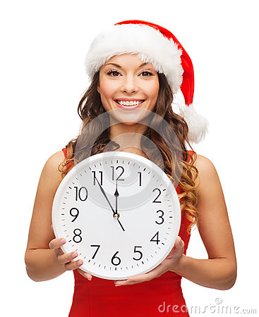 Free Woman In Santa Helper Hat With Clock Showing 12 Royalty Free Stock Images - 34600689