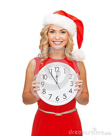 Free Woman In Santa Helper Hat With Clock Showing 12 Royalty Free Stock Images - 34602469