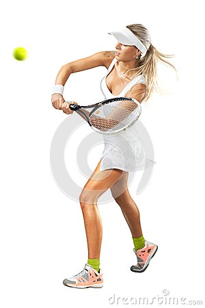 Free Woman In Sportswear Plays Tennis At Training Stock Photo - 40176100