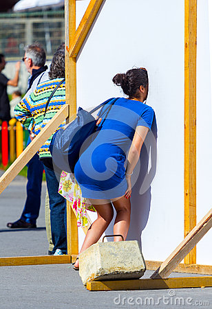 Free Woman In Street Photo Board, Espinho, Portugal Stock Images - 72283334