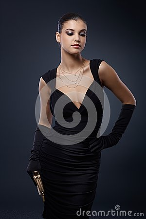 Free Woman In Stylish Black Cocktail Dress Royalty Free Stock Photography - 36843367