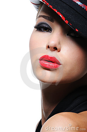 Free Woman In The Fashion Hat With Bright Red Lips Royalty Free Stock Photos - 10835598