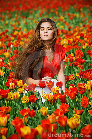 Free Woman In Tulips Royalty Free Stock Image - 5009926