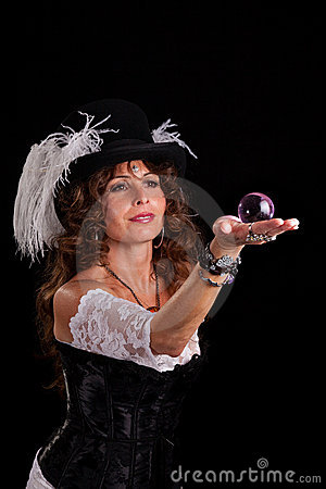 Free Woman In Vaudeville Costume With Glass Marble Royalty Free Stock Photos - 16844968