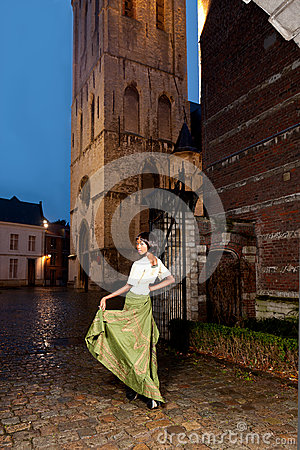 Free Woman In Victorian Dress In The City Royalty Free Stock Photo - 37363465
