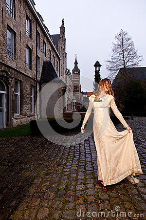 Free Woman In Victorian Dress, Old City Square, Evening Royalty Free Stock Photo - 37447155
