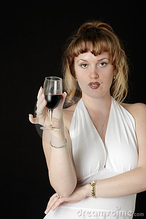 Free Woman In White Having A Glass Of Wine Royalty Free Stock Photos - 343348