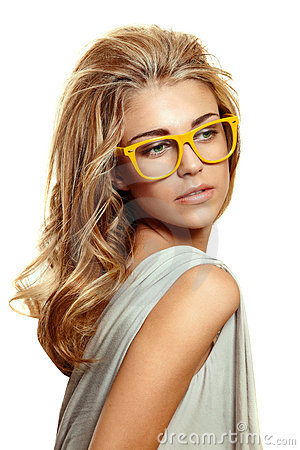 Free Woman In Yellow Glasses Royalty Free Stock Photos - 18885468