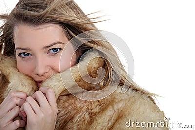 Woman ina a warm coat