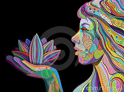 Woman with indian pattern holding lotus flower