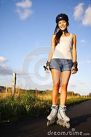 Woman on inline skates / rollerblades
