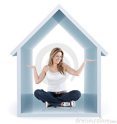 Woman inside a 3d house