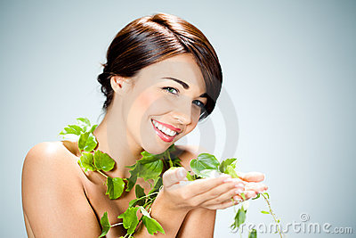 Woman with ivy