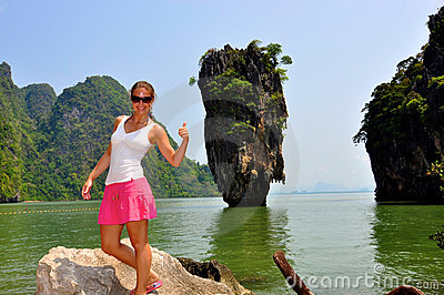 Woman at James Bond Island