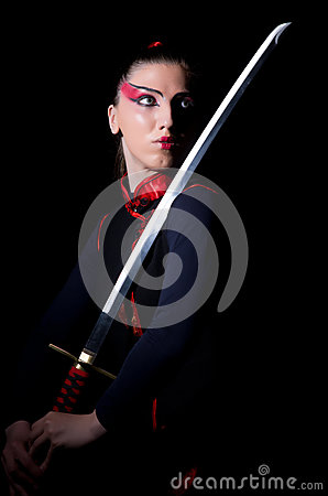 Woman in japanese martial
