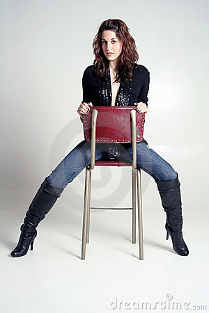 Woman in Jeans and Boots