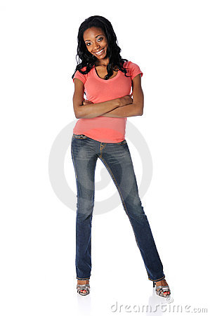 Woman in Jeans and High Heels