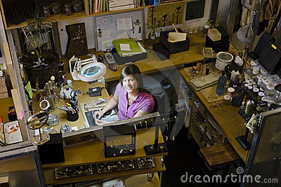 Woman Jeweller at Workbench