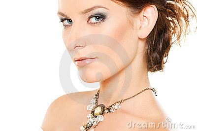 Woman with jewellery on her neck
