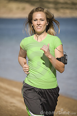 Woman jogging with music