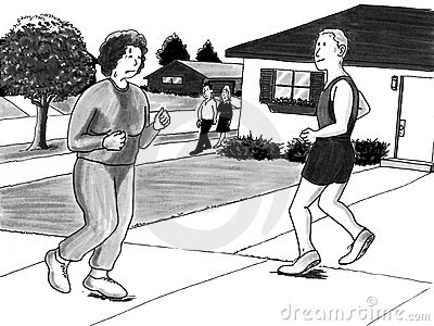 Woman jogging near man urban neighborhood