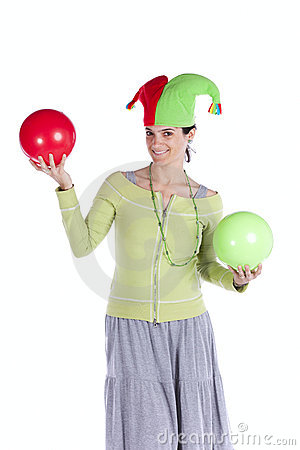 Woman with a joker hat