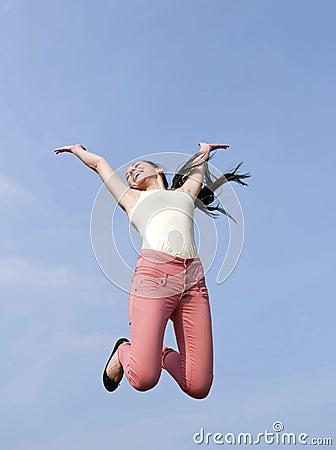 Woman joyful leaping