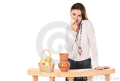 Woman with jug and apples