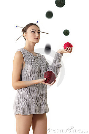 Woman juggle clew with
