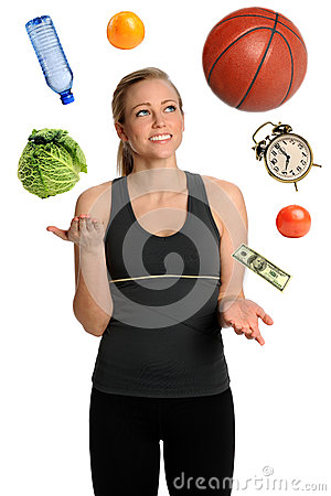 Free Woman Juggling Healthy Lifestyle Royalty Free Stock Images - 25563259
