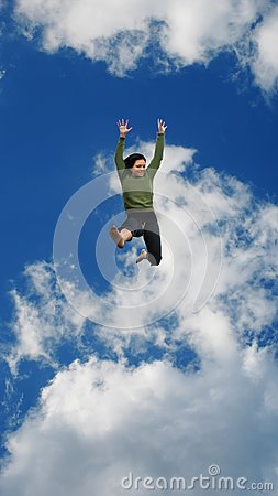 Woman Jumping High in the Sky