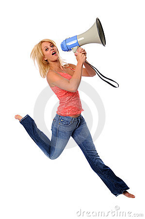 Woman Jumping With Megaphone