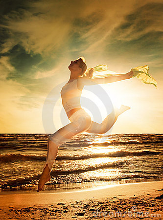 Free Woman Jumping On A Beach Stock Photos - 8061393