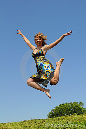 Woman Jumping Outdoors Royalty Free Stock Photos - Image: 10053528