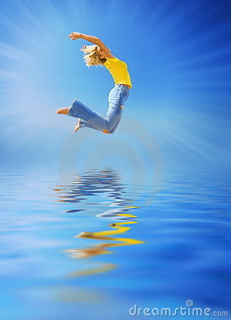 Free Woman Jumping Over The Water Stock Images - 2455934