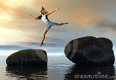 Woman jumping between rocks