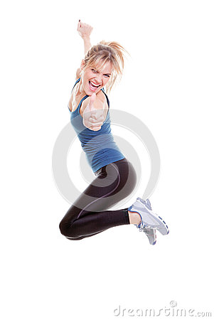 Woman jumping thumb up