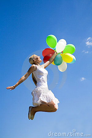 Free Woman Jumping With Balloons Stock Image - 9732121